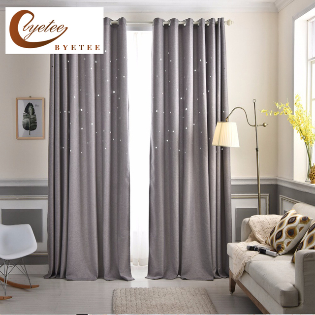 moderno gris estrella de lujo saln dormitorio cortinas confeccionadas telas de las cortinas blackout cortinas de - Cortinas Salon