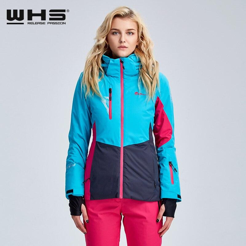 WHS Women Ski Jackets Brand Outdoor Windproof Skiing Coat Woman Snow Breathable Jacket Ladies Snowboarding Coats