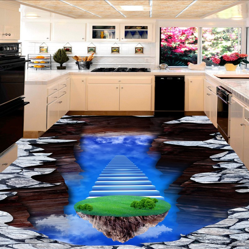 Free shipping custom Fantasy Temple floor painting anti-skidding thickened bathroom chinese mural kitchen wallpaper 3d flooring