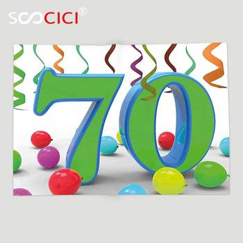 Custom Soft Fleece Throw Blanket 70th Birthday Decorations House Party Theme Colorful Balloons Curls Fun Image Fern Green