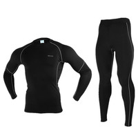 New Men Winter Thermal Warm Up Fleece Compression Cycling Base Layers Shirts Running Sets Jersey Sports