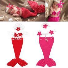 Комплект одежды из 3 предметов для новорожденных с изображением рыбьего хвоста, спальный мешок, повязка на голову с цветочным рисунком для малышей, реквизит для фотосъемки, комплект для маленьких мальчиков