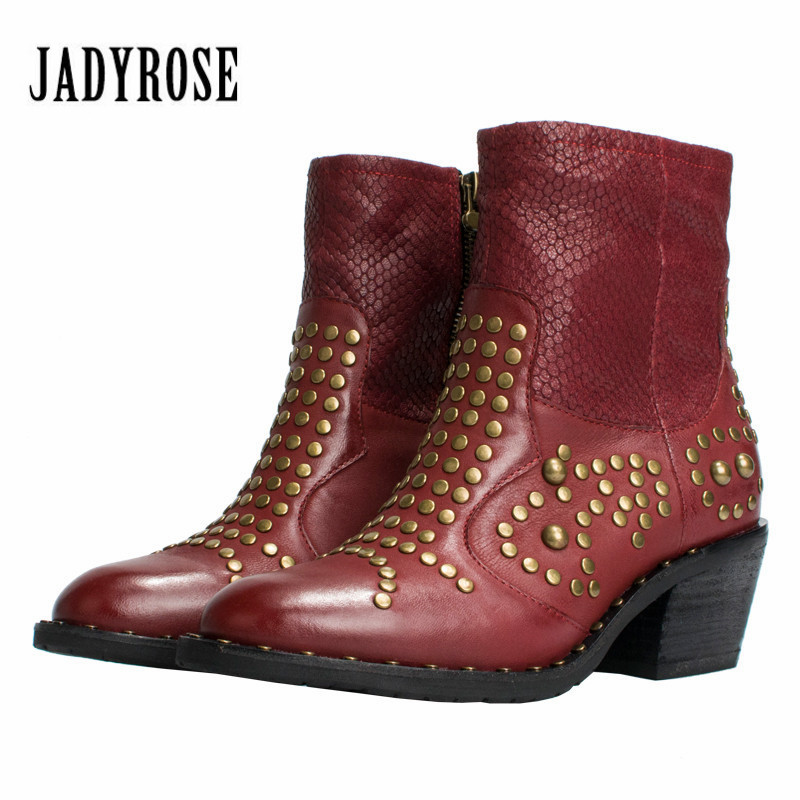 Jady Rose Ankle Boots for Women Genuine Leather Autumn Winter Botas Platform Short Booties Female Rivets Studded Martin Boot jady rose casual gray women ankle boots straps genuine leather short flat botas autumn winter female platform martin boot
