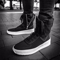 Chaussure Homme Justin Bieber Superstar High Top Military Shoes Men Platform Ankle Boots Black Leather Thick Sole Flat Booties