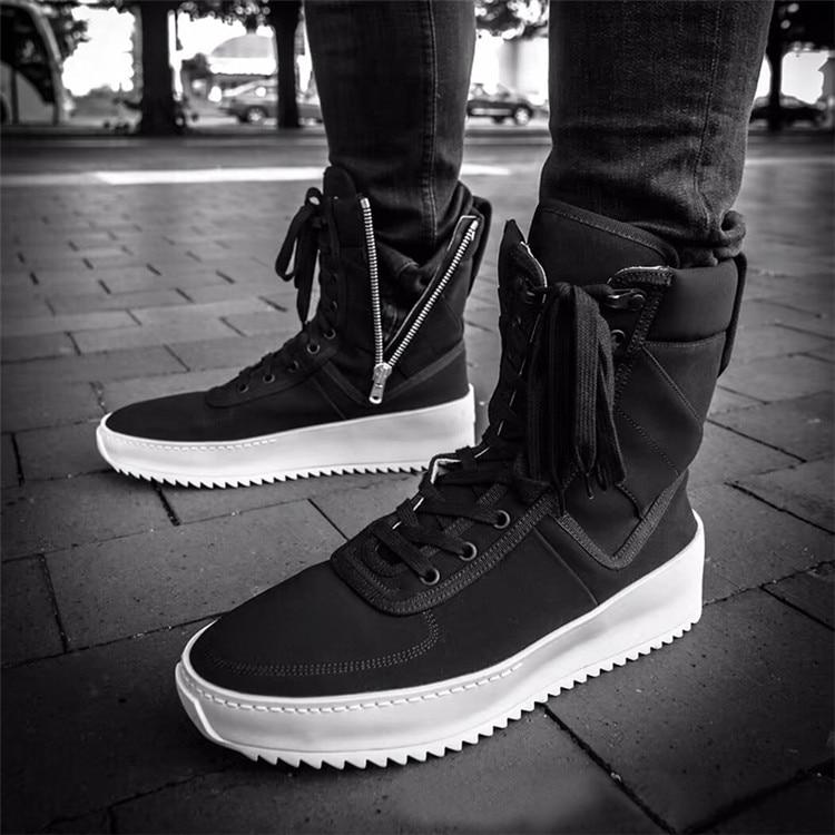 Chaussure Homme Superstar Piste High Top Sneakers Militaire Chaussures Hommes Plate-Forme Cheville Bottes Noir Fond Épais En Caoutchouc Plat Botas