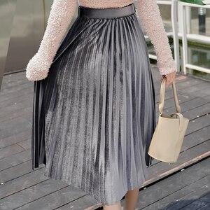 Image 5 - Skirts Women 2019 Autumn Mid calf Length Faldas Mujer Moda Elastic High Waist Jupe Femme Saia Midi Solid Female Pleated Skirt