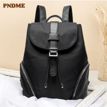 PNDME genuine leather  backpack student bag fashion motorcycle Womens black shoulder
