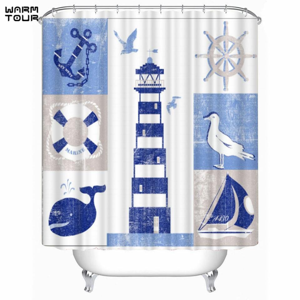 warm tour blue lighthouse print shower curtains bath products bathroom decor with hooks