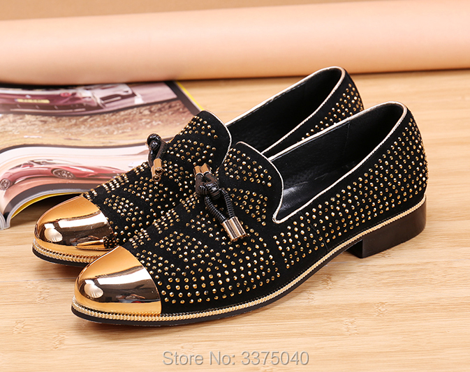 Hot Rhinestone Men's Shoes Gold Toe Casual Shoes Crystal Loafers Mens Party Dress Shoes Slip-on Flats hot sales new fashion dandelion spikes mens loafers high quality suede black slip on sliver rivet flats shoes mens casual shoes
