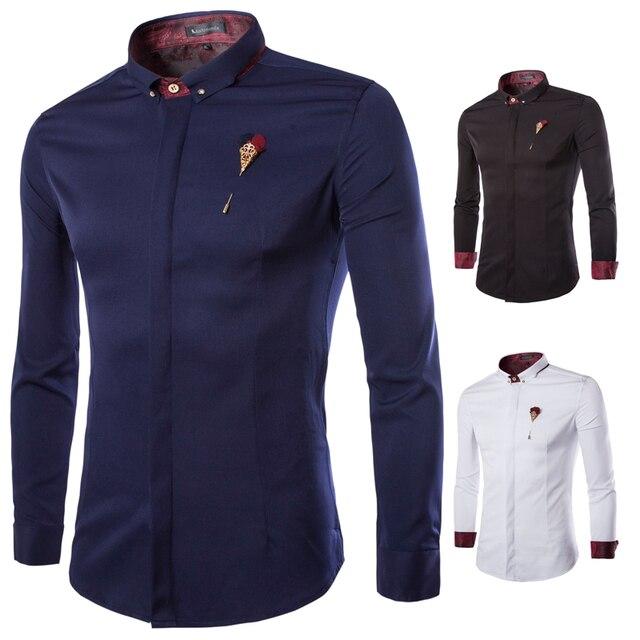 Novos homens de manga longa magro Camisa de manga comprida Camisa Masculina Casual Mens casamento & vestido de negócios Shirt Chemise Homme 9208