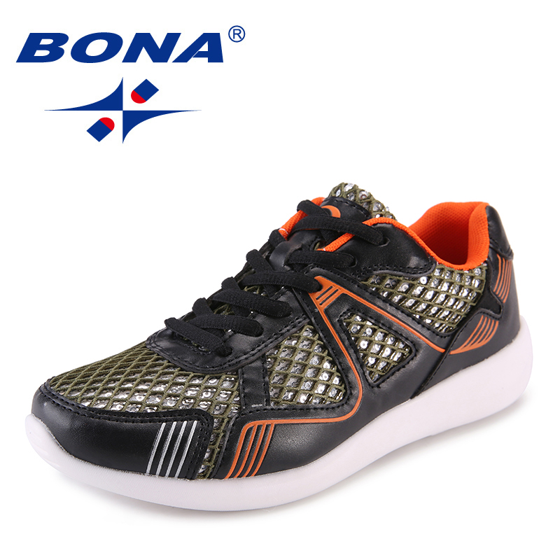 BONA New Popular Style Women Flats Outdoor Sneakers Shoes Mesh Women Casual Shoes Lace Up Lady Leisure Shoes Fast Free Shipping instantarts women flats emoji face smile pattern summer air mesh beach flat shoes for youth girls mujer casual light sneakers