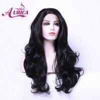 Аурика BodyWave натуральный черный 1b Тепло Сейф Синтетические волосы на кружеве парик для Для женщин
