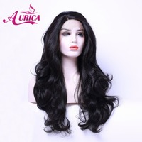 Aurica Bodywave Natural Black 1B Heat Safe Synthetic Hair Lace Front Wig For Women