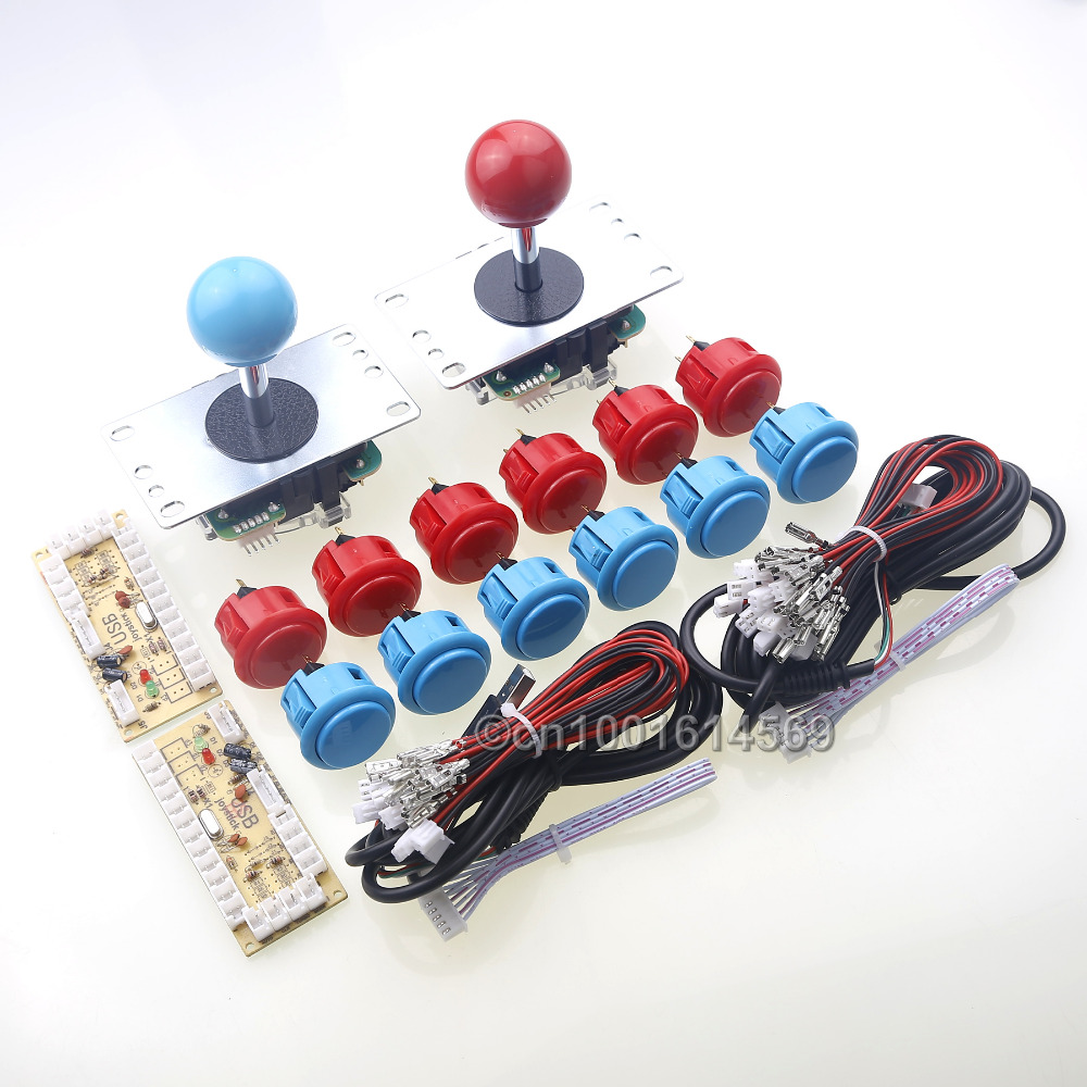 Arcade DIY Kits Parts Bundle SANWA Buttons OBSF-30 Wires + 2 x Sanwa Arcade Joystick Cables + 2 x USB Encoder Board To MAME oem 30 x 30 diy 30x30cm