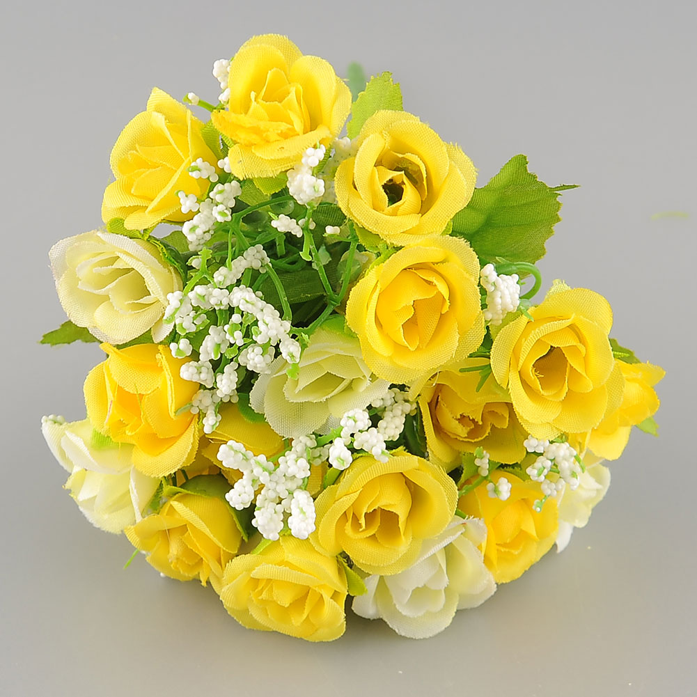 New Beautiful Elegant 21 Heads Artificial Mini Rose Bud Silk Flower