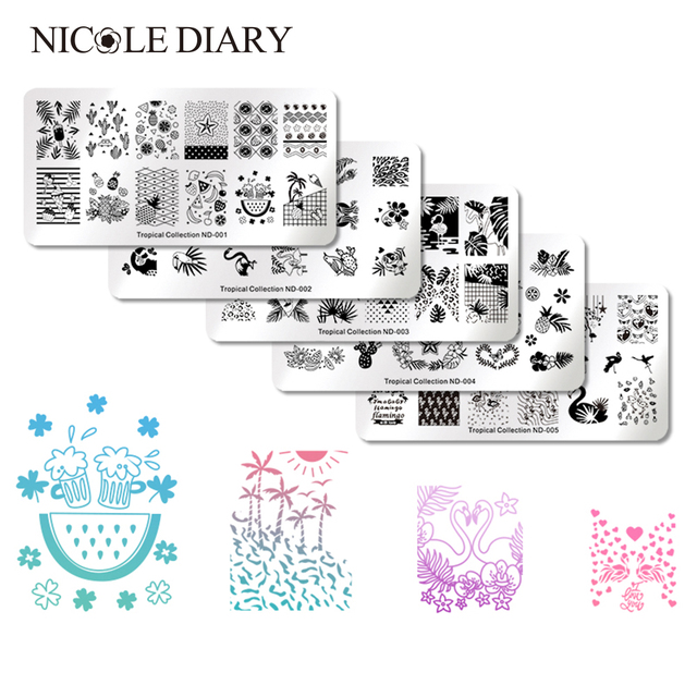 Nicole Diary 1pc Rectangle Nail Stamping Template Flower Animal