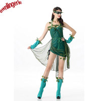 Adult Halloween Green Fairy Costume Elf Cosplay Clothing Alice in Wonderland Performance Clothing St. Patrick Day Accessories