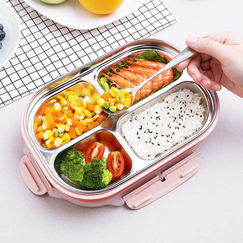 Коробка для обедов с мультипликацией для детей, для пикника, активного питания, контейнер для школьников, мальчиков и девочек, Bento Boxs, герметичные емкости для хранения продуктов