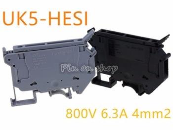 50PCS UK5-HESI UK5RD 4mm2 DIN Rail Screw Clamp Fuse Terminal Blocks Connector