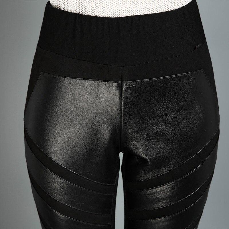 2018 Pantalon Stretch Mode Femmes Haute L1590 Peau Mouton Femelle Noir Black Cuir Crayon Taille Occasionnel Véritable D'hiver De En IgfYyb76v