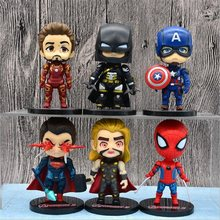 6Pcs/set Avengers Alliance Series figurine Super Heroes Action Figure Q Edition Anime 10cm ABS Model Doll Collection Child Toys(China)