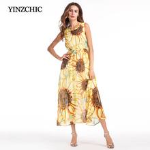 summer woman chiffon casual dress fashion sunflower printed woman dress sleeveless woman a-line dress female calf-length dress