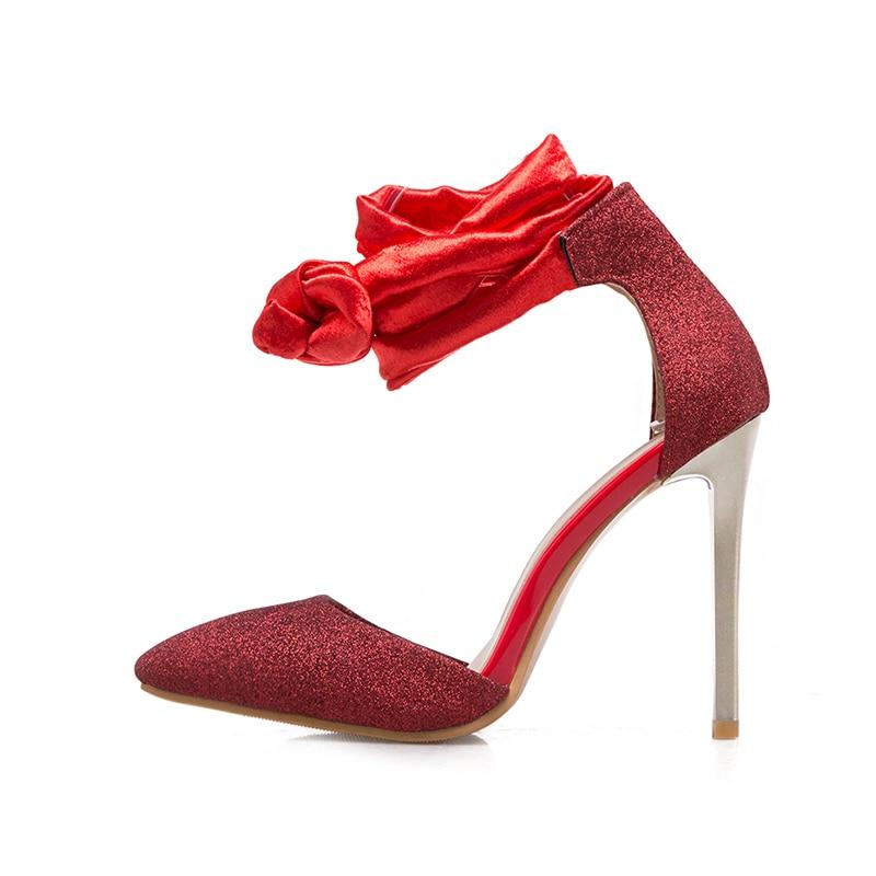 sexy Oro Super Rosso Nastri alla femminile tacco con le Argento per Scarpe Wetkiss caviglia Size alto estivo abito Cinturino Big donne Sandalo 50 Sandali 1wFP7qCx