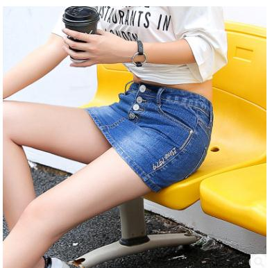 Female Summer Denim   Shorts   Button Jeans Skinny Mini Skirt   Short   S/3Xl Dark Blue Womens Jeans   Shorts   Jeans   Short   Large Size J2247