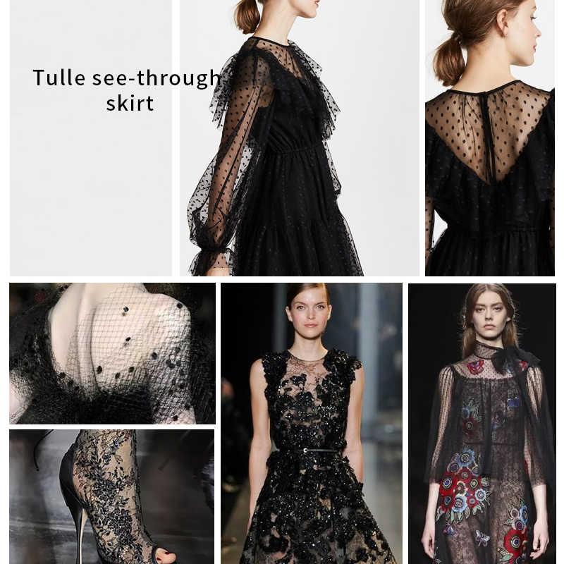 HDY Haoduoyi 2019 Черное милое платье из шифона в горошек с рюшами   Шифоновое мини-платье с длинным рукавом и воланами для вечеринки Стильное модное полупрозрачное короткое женское платье рукава