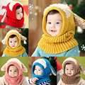 New Winter Warm Baby Hat Beanie with Scarf Dog Style Crochet Knitted Caps for Infant Boys Girls Children BM