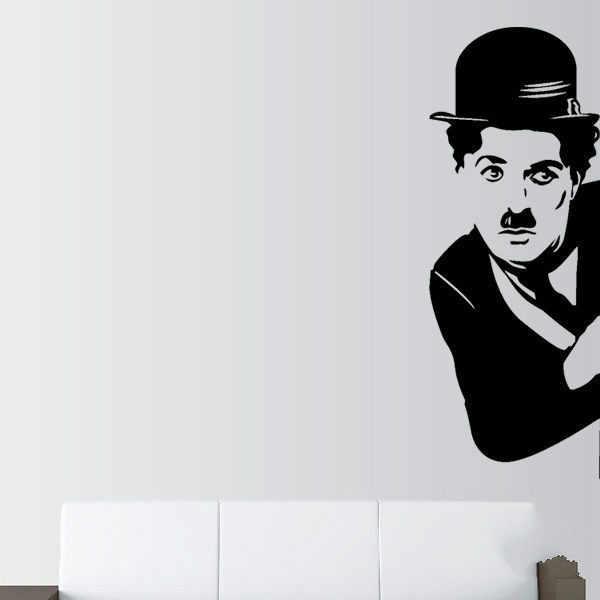 Movie Star Charlie Chaplin Wall Vinyl Art Sticker Home Decoration Mural  Living Room Bedroom Shop Glass Door Decal Painting Decor