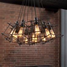 купить Loft vintage multi heads iron chandelier restaurant club hell lights dining room cafe droplight bar clothing store pendant lamp дешево