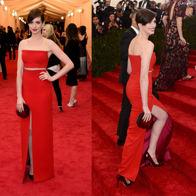Anne Hathaway 2014 Gala Red Carpet Two Piece Side Slit Strapless ...
