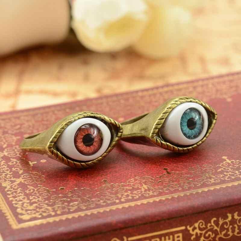1 pc Azul Marrom Retro Do Vintage Do Punk Gótico Anéis Exagerado Vampiro Anéis de Olho Para As Mulheres Homens Jóias