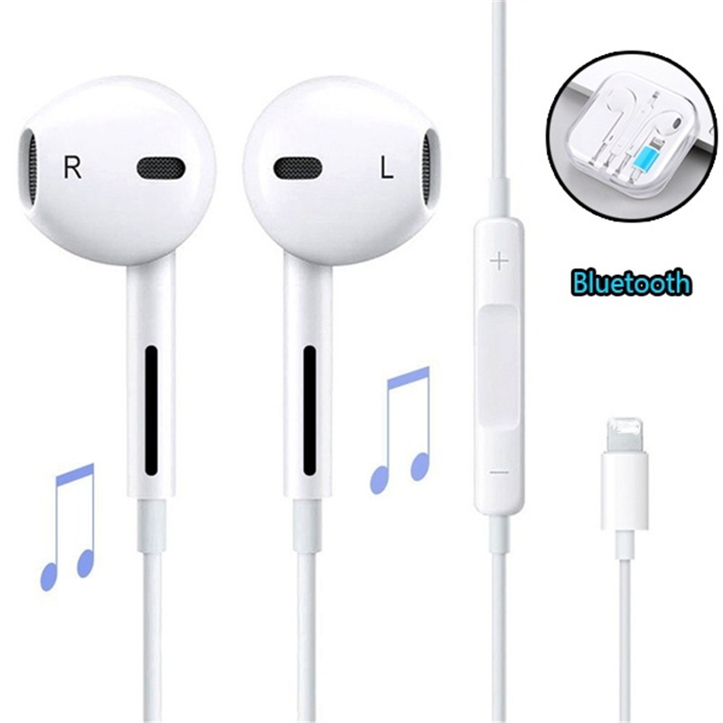 In Ear Headphones Wired Bluetooth Earphone for Apple IPhone X XR XS Max 8 7 6 6S Plus 6 5 5S Earbuds with Microphone Ear Phone(China)