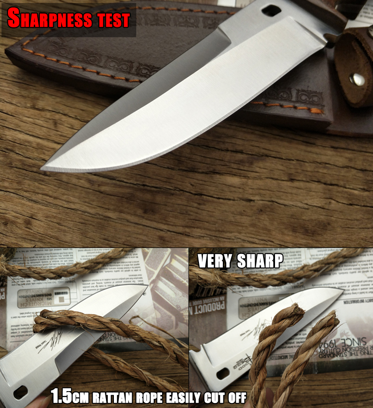 Tools : LCM66 hunting knife Tactical Small Fixed Knives Copper Ebony handle Survival Knife Camping Portable knife cs Handmade