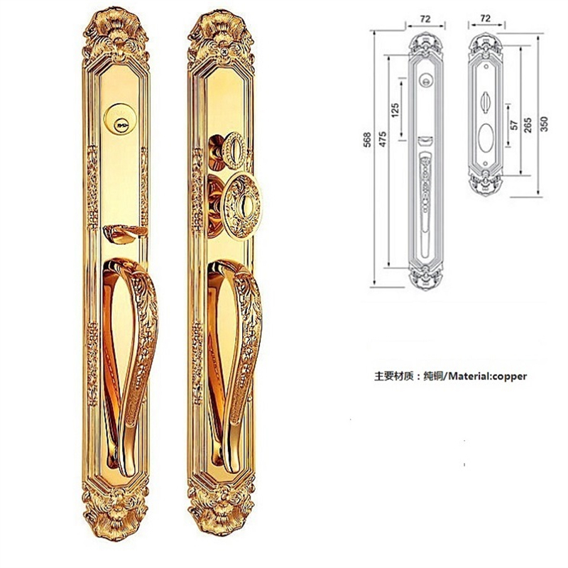 Serrure de porte d'entrée de serrure de VILLA de matériel de cuivre d'or 24 K pour la porte simple et la porte DOUBLE