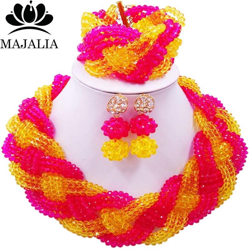 Majalia African Fashion Women Jewelry Set Hot pink yellow Nigerian Wedding Jewelry Beaded Sets 12CB0015 majalia african fashion women jewelry set royal blue nigerian wedding jewelry beaded sets 12cb006