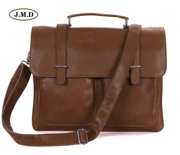 J.M.D Vintage Tan Leather Brown Briefcase Fashion Brown Business Document Bag Buckle Top Closure Laptop Messenger Bag 7100B-2 портмоне mano business 19008 19008 brown