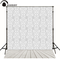 Allenjoy Professional Photography Background Wood Photography Backdrops Damask Gray White Photography Props