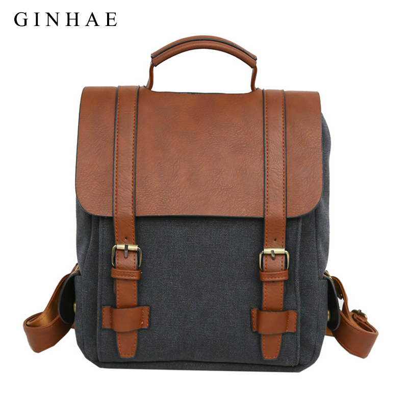 125ee3b89729 2018 Vintage Men Women Canvas Backpack Pu Leather Patchwork School Bags For Teenagers  Boys Girls Large Unisex Couple Backpacks