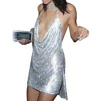 Gold Silver Sequin Dress Women Halter V Neck Backless Christmas Party Dresses Sexy Short Split Night
