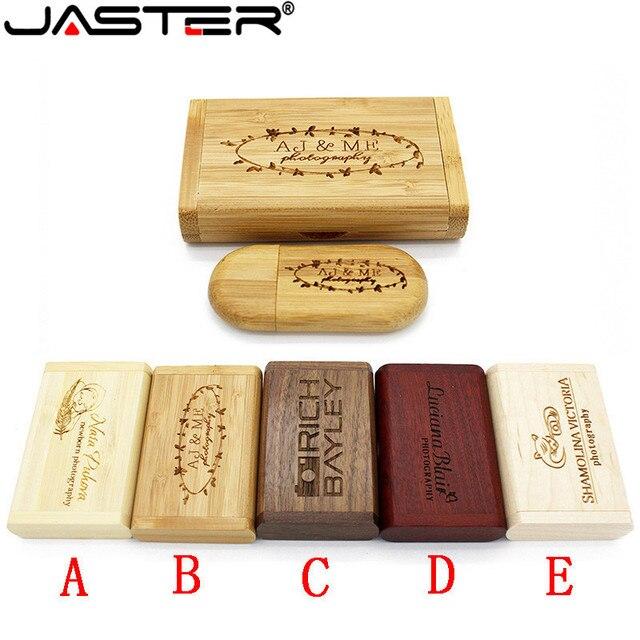 JASTER (over 10 PCS LOGOTIPO livre) usb + Caixa de madeira pen drive GB gb 32 16 8 gb Memory Stick usb Flash Drive LOGOTIPO do cliente casamento presente