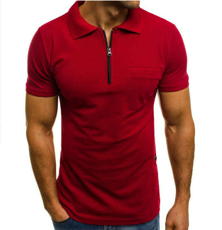 Herren Schlank Zipper Fit Shirts Kurzarm Casual Muscle Shirt Tops T