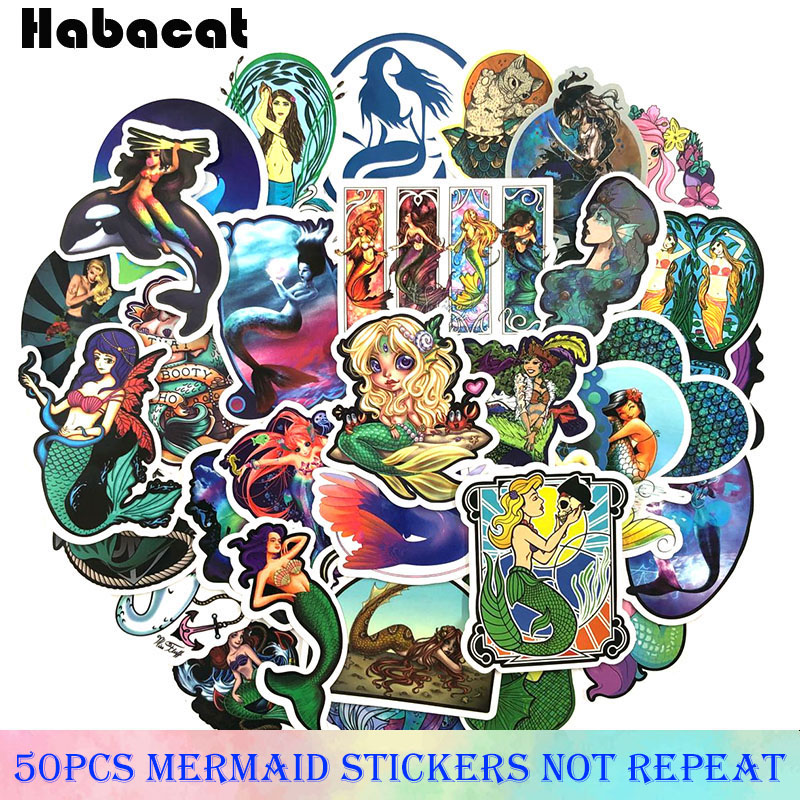 <font><b>50</b></font> Pcs/pack Cartoon mermaid princess <font><b>Stickers</b></font> For Bicycle Motorcycle Skateboard Laptop Beauty temptation Catcher Network <font><b>Sticker</b></font> image