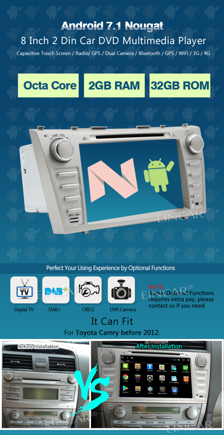 "Android 7.1 WIFI 4G 7/"" Double 2 DIN Car Radio Stereo Player GPS Navi DAB+Camera"