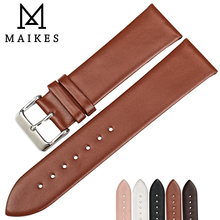 MAIKES New Brown Thin Watch Band 18 20 22mm Watch Strap Genuine Leather Watchbands Watch Bracelet