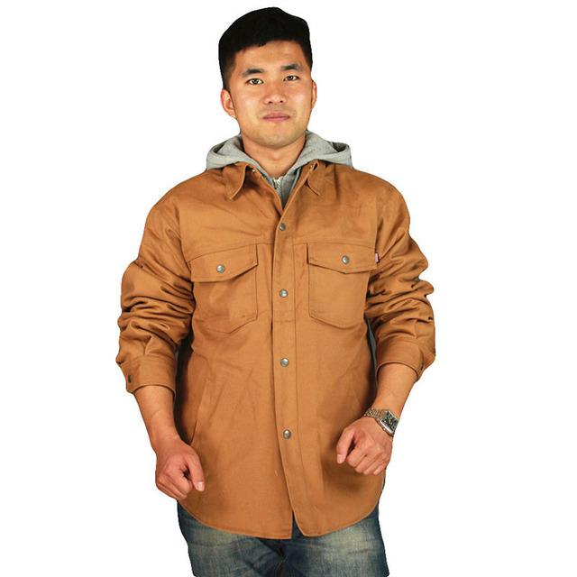 Mens desgaste-resistencia de seguridad Retardante de ropa de trabajo ropa de protección de invierno espesar algodón acolchado trajes de Chaqueta con capucha