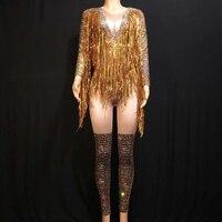 Gold Fringes Rhinestones Sexy Bodysuit Women Jazz Dance Big Stretch Jumpsuit Dancer Outfit Evening Show Sexy Costume Wear DJ528