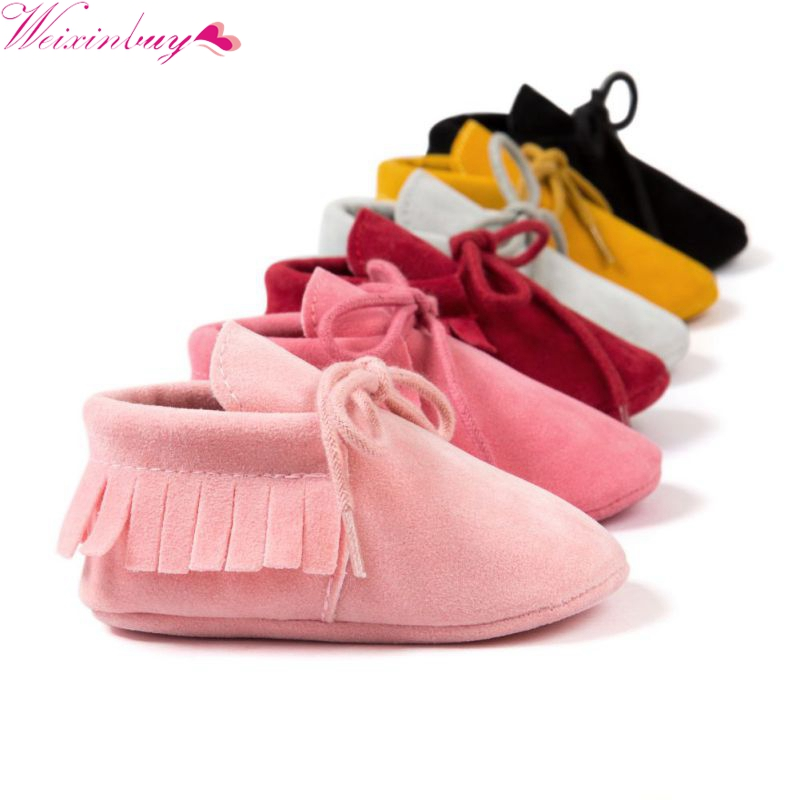 Boy Girl Baby New Moccasins Soft Moccs Shoes Bebe Fringe Soft Soled Non-slip Footwear Crib Shoes PU Suede Leather Newborn